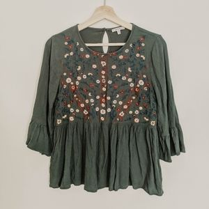 EMBROIDERED FOREST GREEN BLOUSE